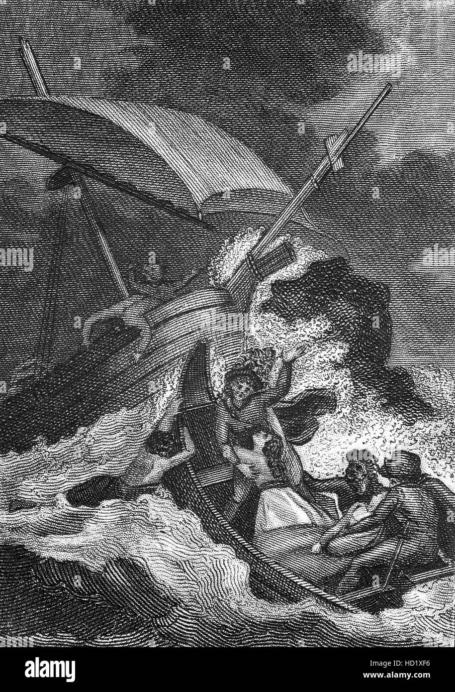 The shipwreck of the 'White Ship'  on the  25th November 1120 with William the Aethling, only son of Henry - Stock Image