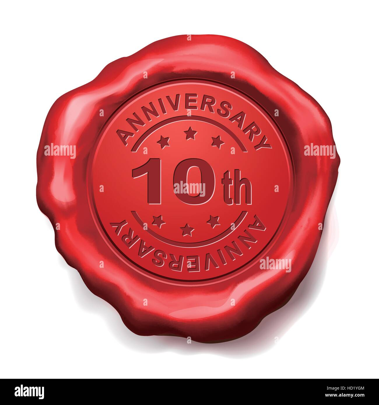 10th anniversary red wax seal over white background - Stock Vector