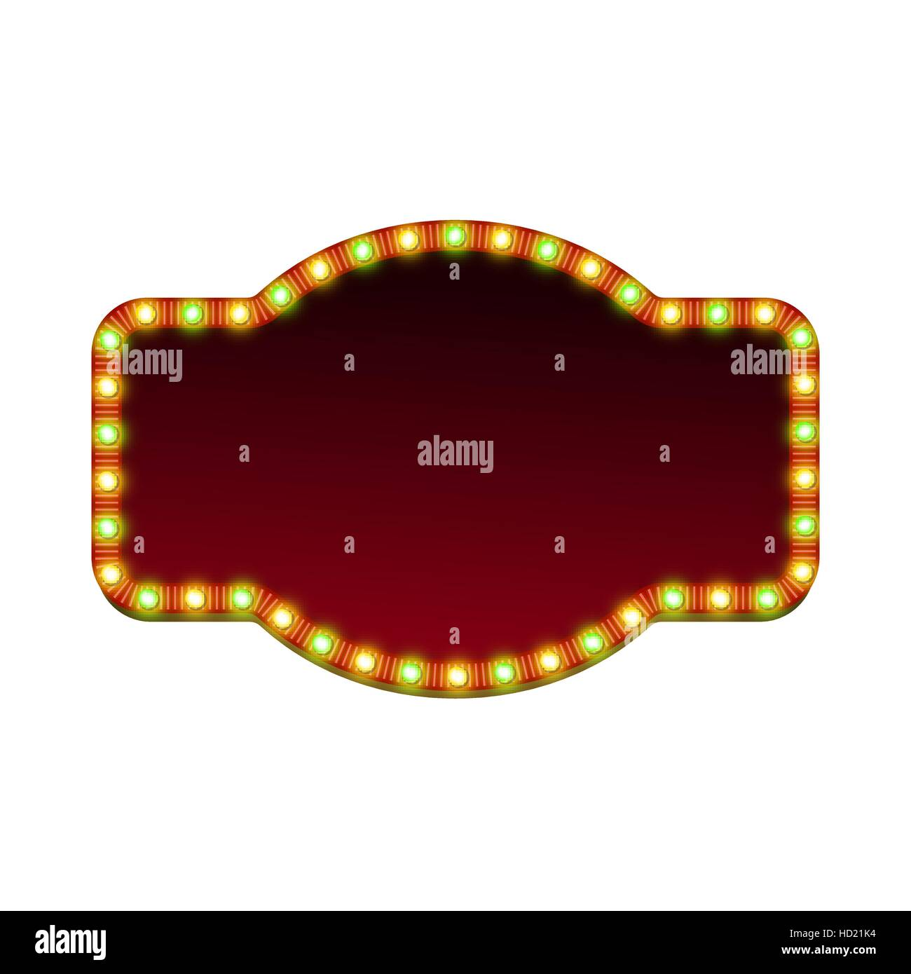 Blank 3d retro light banner with shining lights. Red sign with green and yellow bulbs and dark blank space for text. - Stock Image