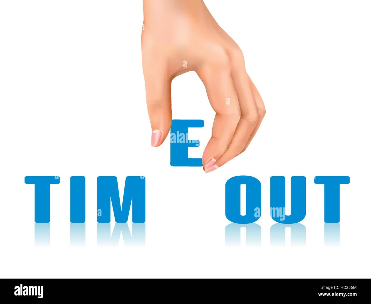 timeout word taken away by hand over white background - Stock Vector