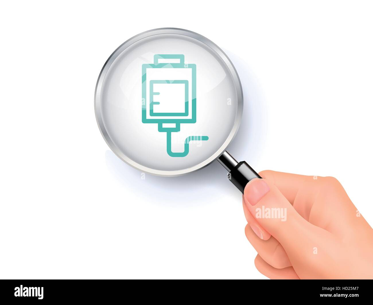 IV bag icon showing through magnifying glass held by hand - Stock Vector