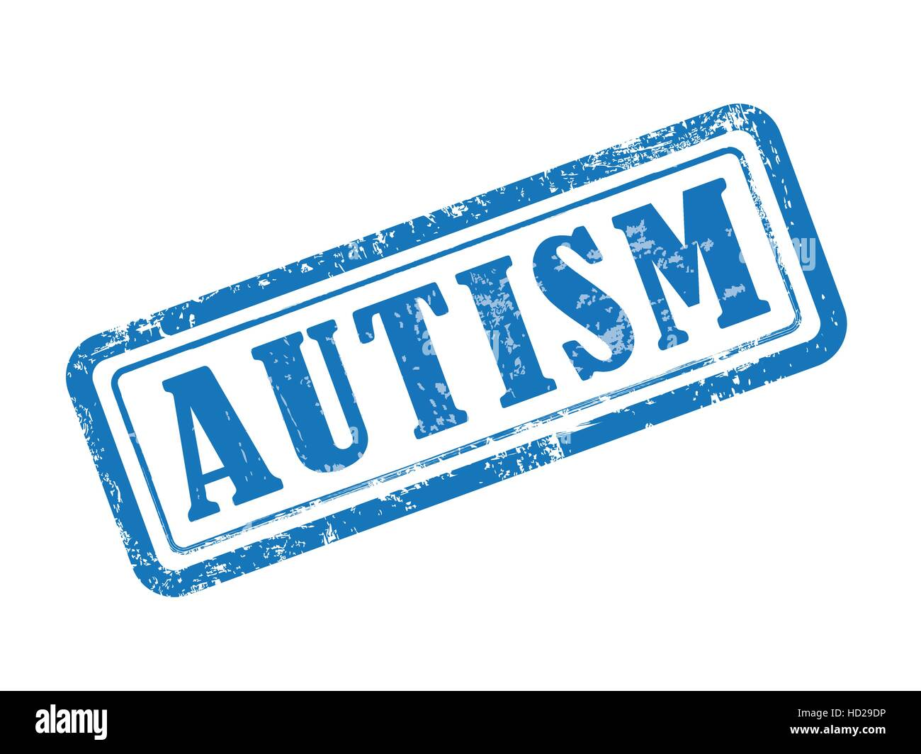 stamp autism in blue over white background - Stock Vector