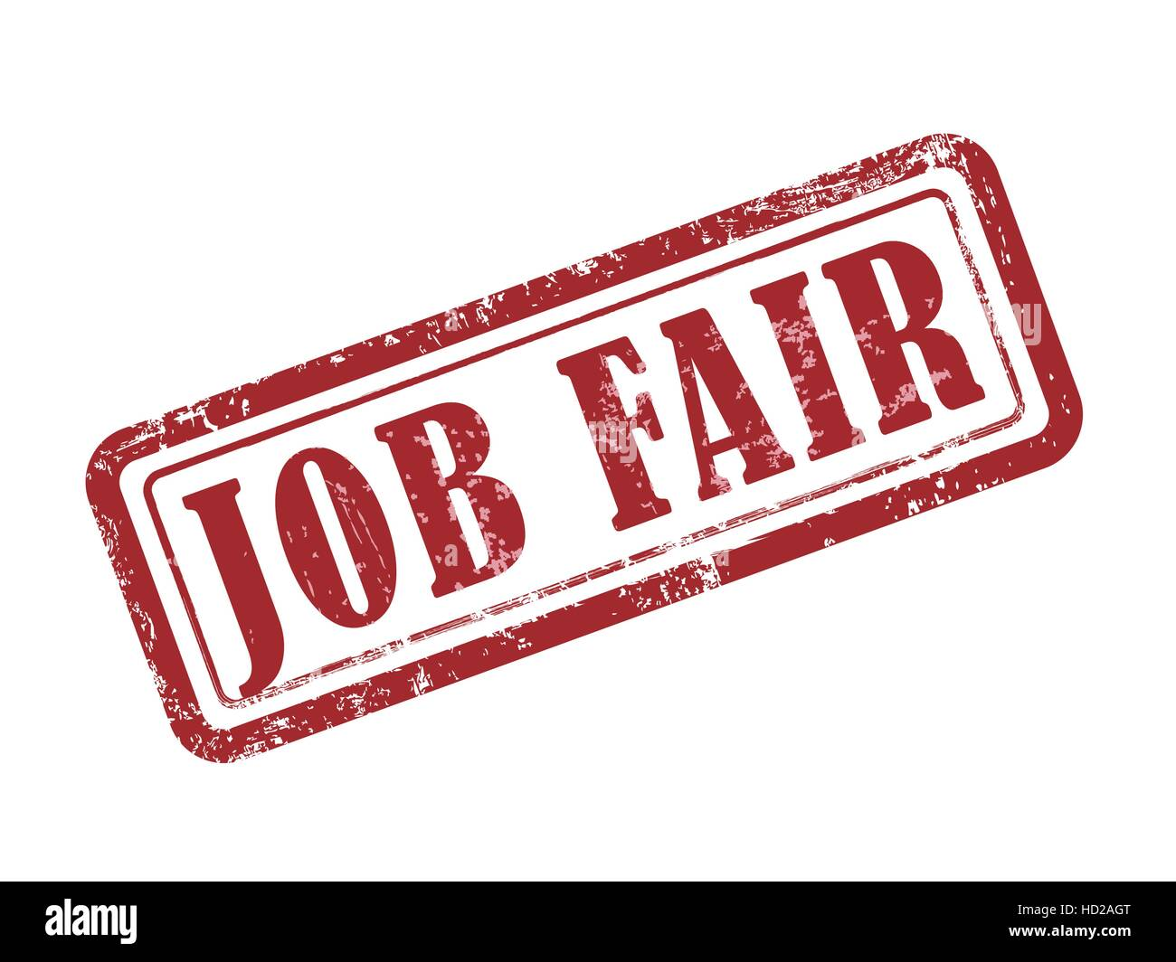 stamp job fair in red over white background - Stock Vector