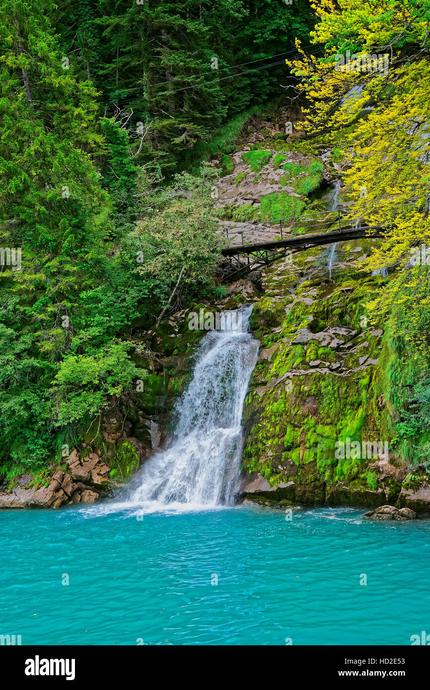 Giessbach Falls and Nature Park at Lake Brienz and Brienzer Rothorn mountain at Interlaken in Canton of Bern in Stock Photo