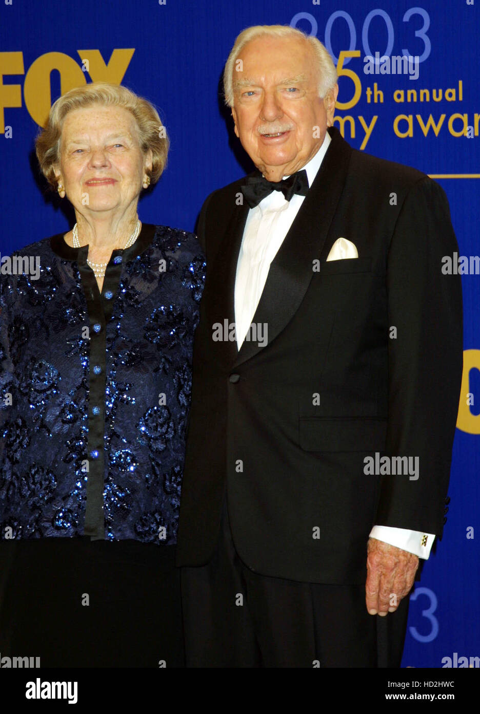 Newsman Walter Cronkite, right, and his wife Betsy, backstage at the 55th Annual Primetime Emmy Awards held at  - Stock Image