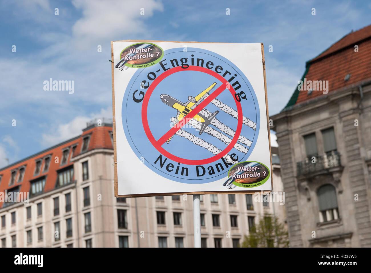 Global march against Geoengineering. Berlin, Germany. Stock Photo