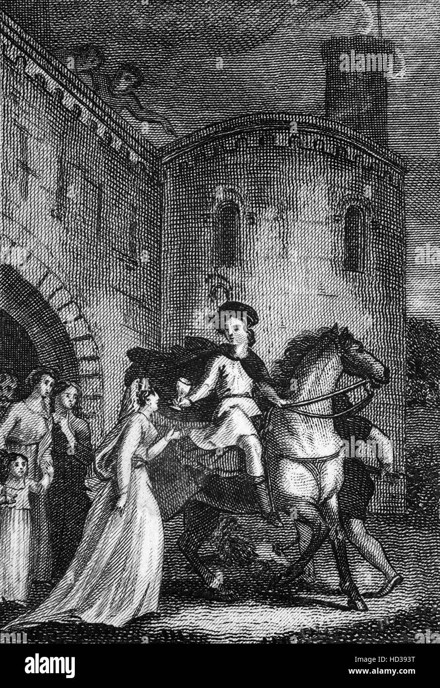The treachery of Elfrida in causing the death of Edward the Martyr,  King of England from 975 until he was murdered - Stock Image