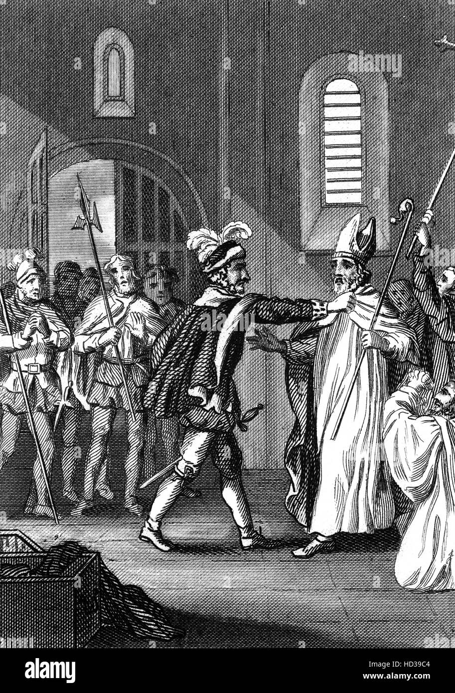In 1082, Odo, Bishop of Bayeaux and  Earl of Kent made a bid to purchase the papacy, causing a split with William - Stock Image