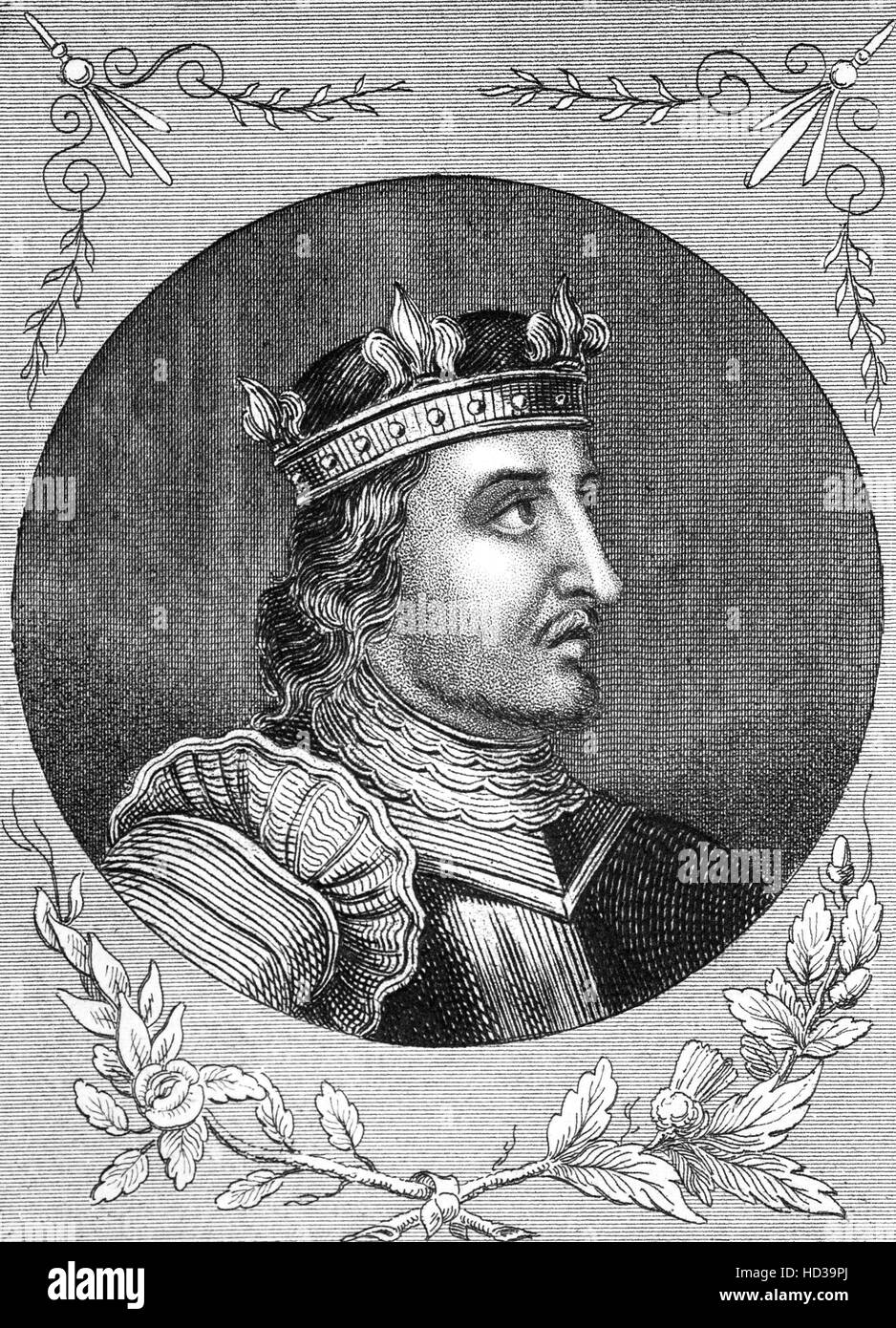 Stephen (1092 – 1154), often referred to as Stephen of Blois, was a grandson of William the Conqueror. He was King - Stock Image