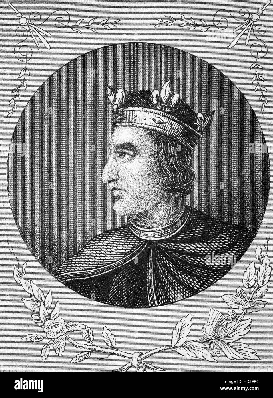 Henry I (1068 – 1135), also known as Henry Beauclerc, was King of England from 1100 to his death. He was the fourth - Stock Image