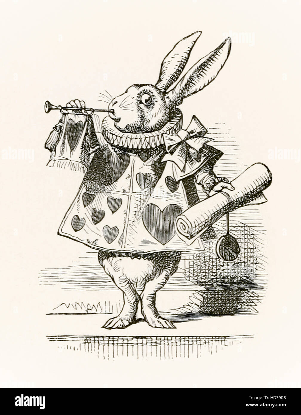 The White Rabbit with trumpet and scroll heralding the accusation, illustration by Sir John Tenniel  (1820-1914) - Stock Image