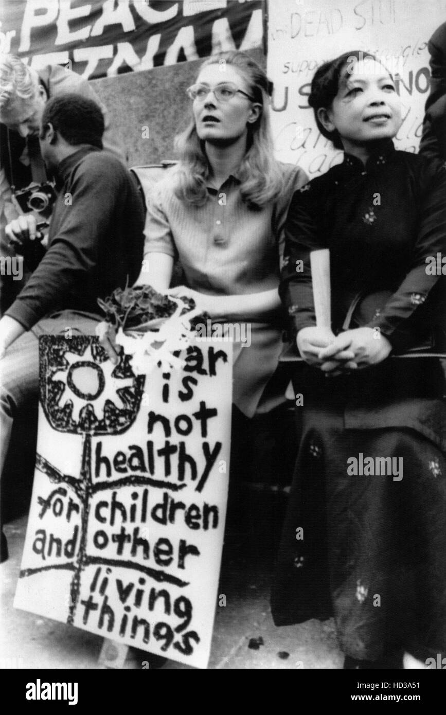 Vanessa Redgrave and Madame Linh Qui, from Hanoi at a protest rally in Trafalgar Square, London, England, 5/9//70Stock Photo
