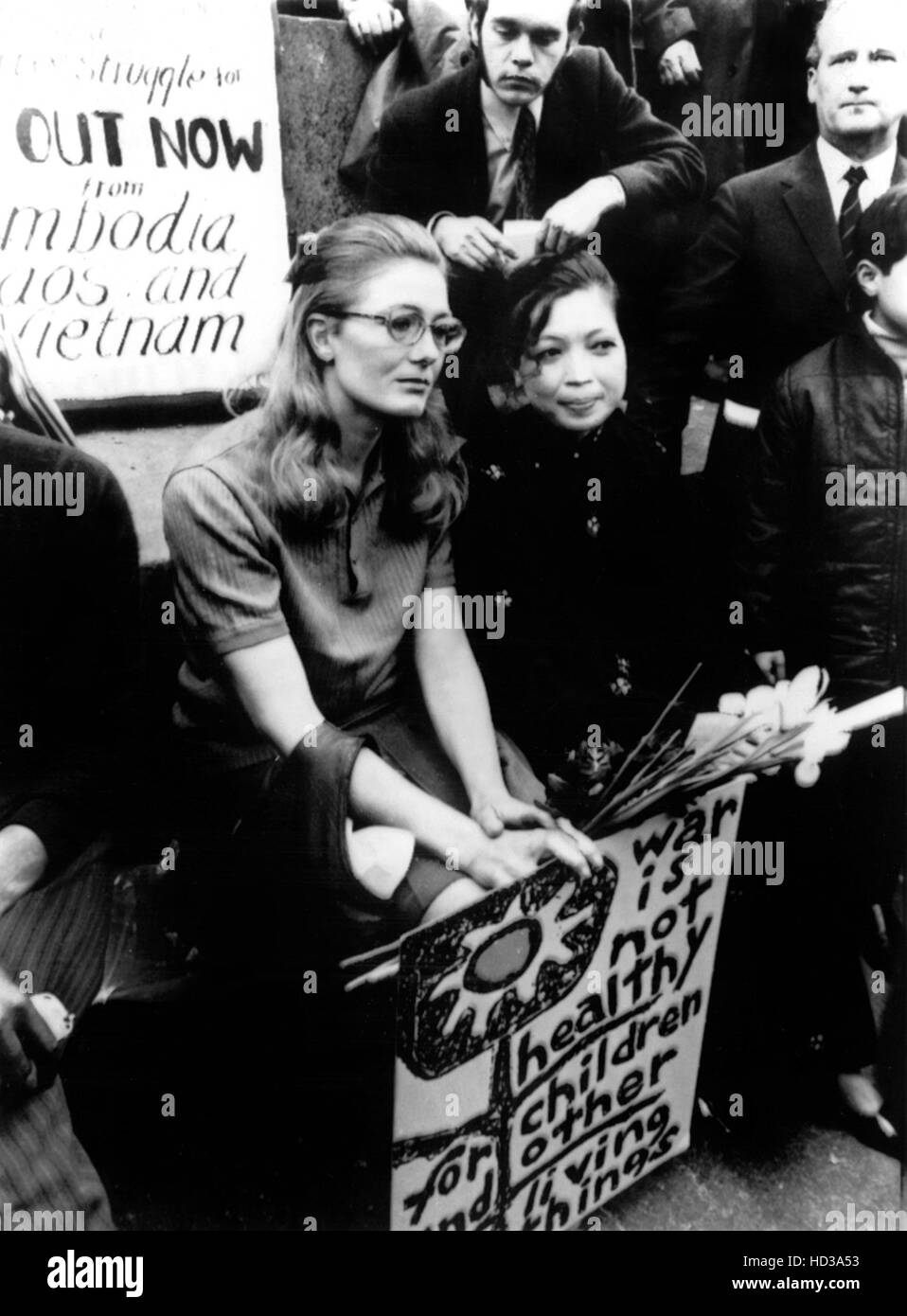 Vanessa Redgrave and Madame Linh Qui, from Hanoi at a protest rally in Trafalgar Square, London, England, 5/9/70Stock Photo
