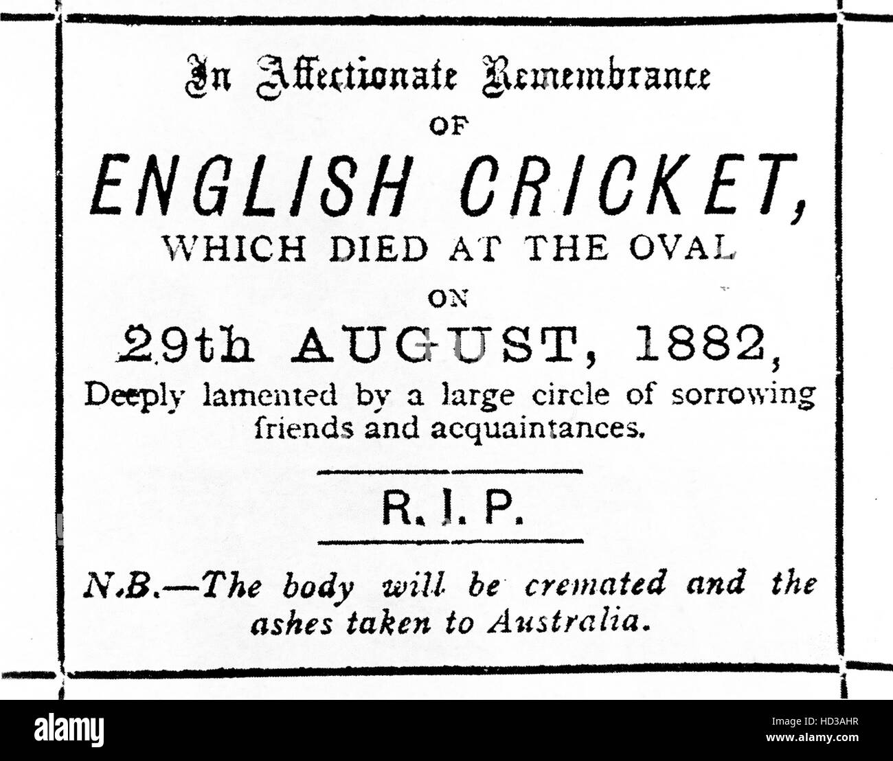 THE ASHES Obituary from The Sporting Times on 2 September