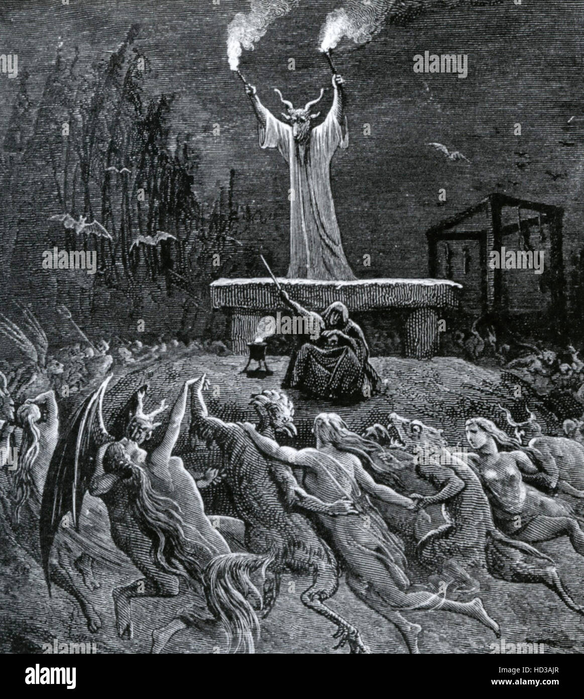 DEVIL WORSHIP  Engraving by Gustave Dore - Stock Image
