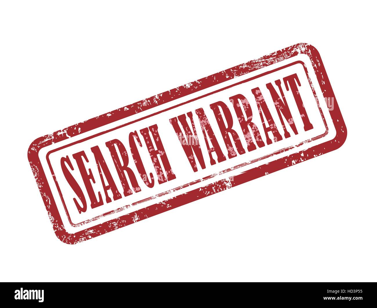 stamp search warrant in red over white background - Stock Image