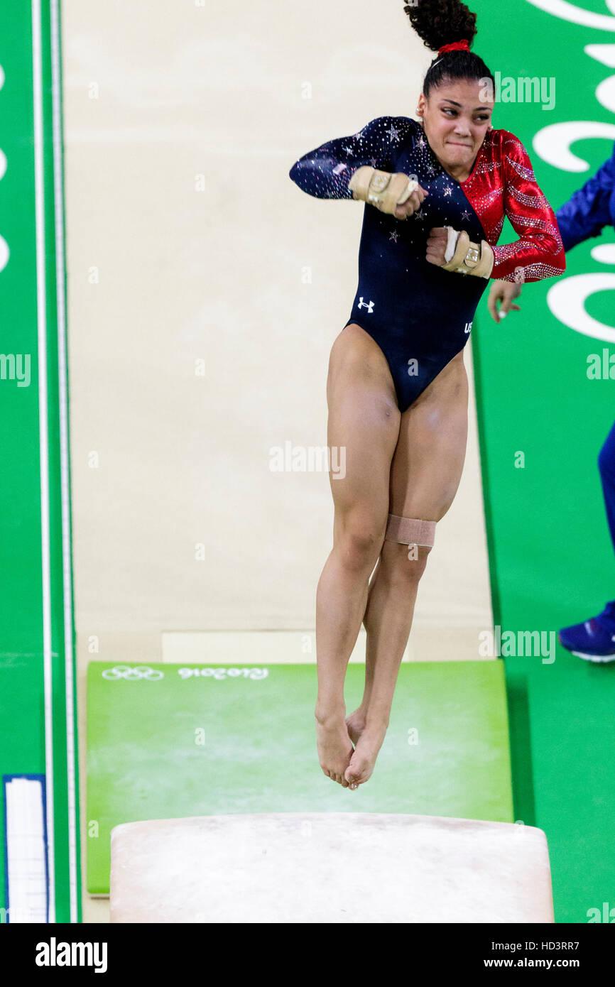 Rio de Janeiro, Brazil. 7 August 2016.  Lauren Hernandez (USA) performs  on the vault during Women's Gymnastics - Stock Image