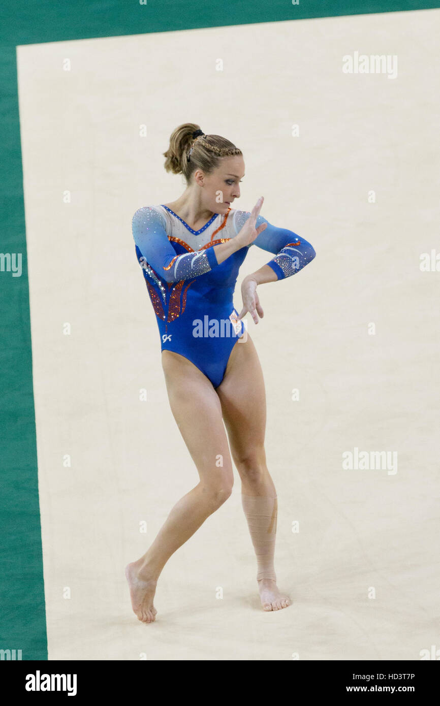 Rio de Janeiro, Brazil. 7  August 2016.  Céline van Gerner (NED) performs  the floor exercise during Women's - Stock Image
