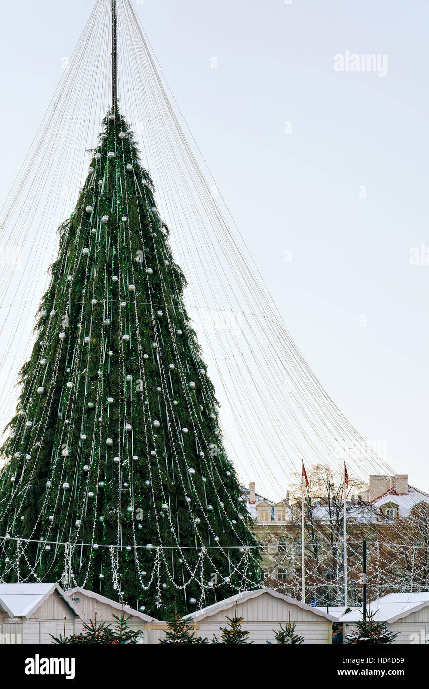 Christmas tree with decorations installed at Xmas market on ...