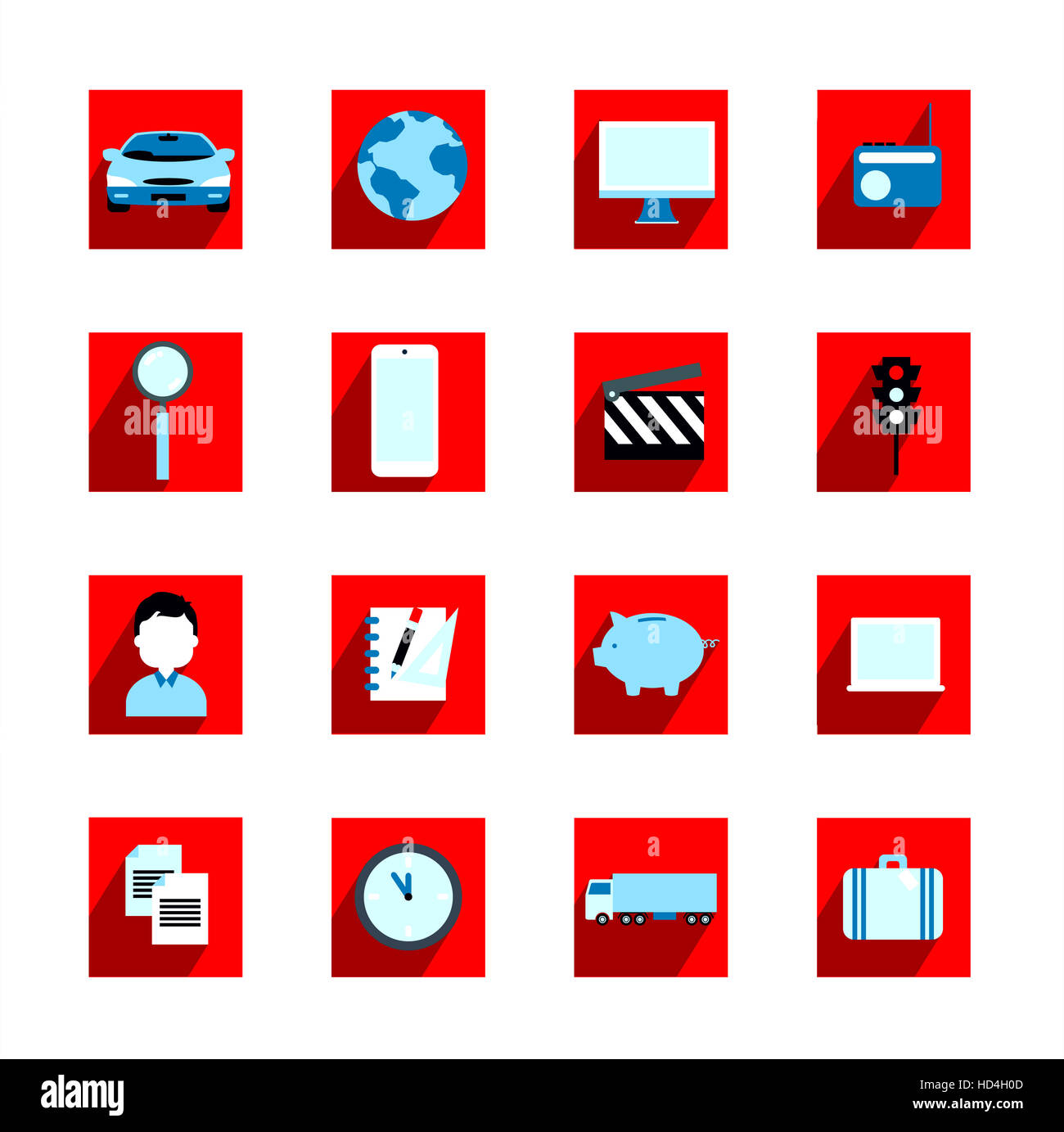 Icons representing various industries - Stock Image