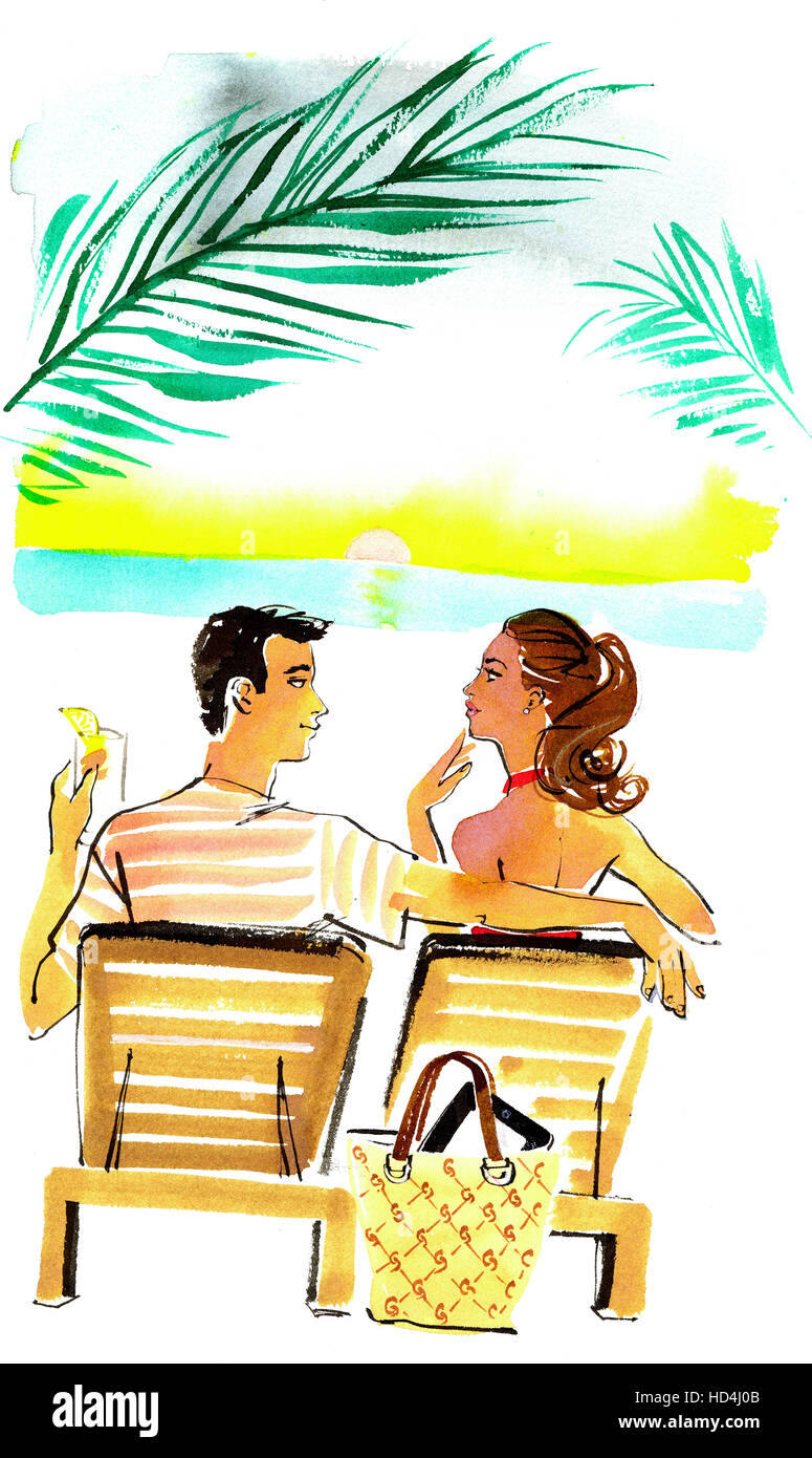 Rear view of woman and man relaxing on beach - Stock Image