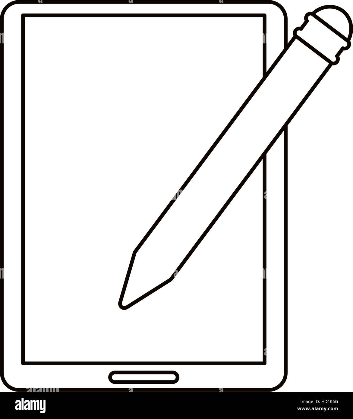 tablet pen digital technology outline - Stock Image