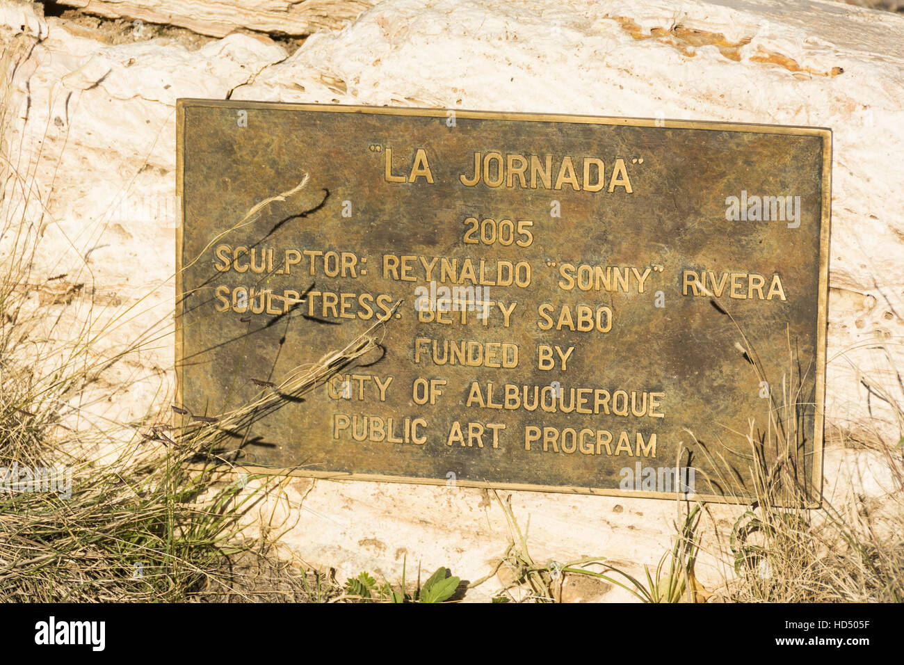 New Mexico, Albuquerque, Albuquerque Museum of Art and History, La Jornada sculpture by Reynaldo Sonny Rivera, 2005, - Stock Image