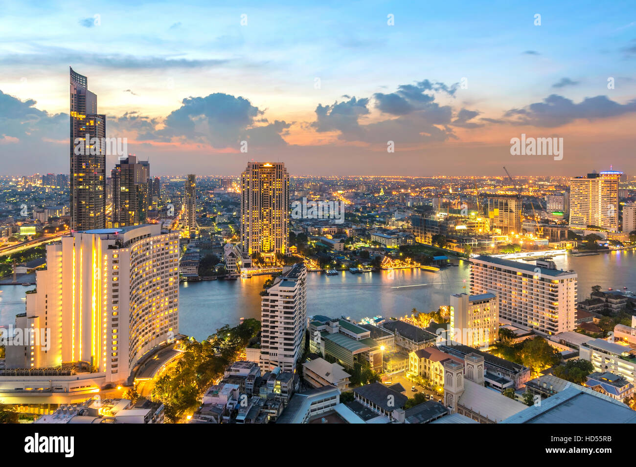 Twilight sky view in Bangkok. taken picture on 37 floor lebua building .front is Thonburi  district - Stock Image