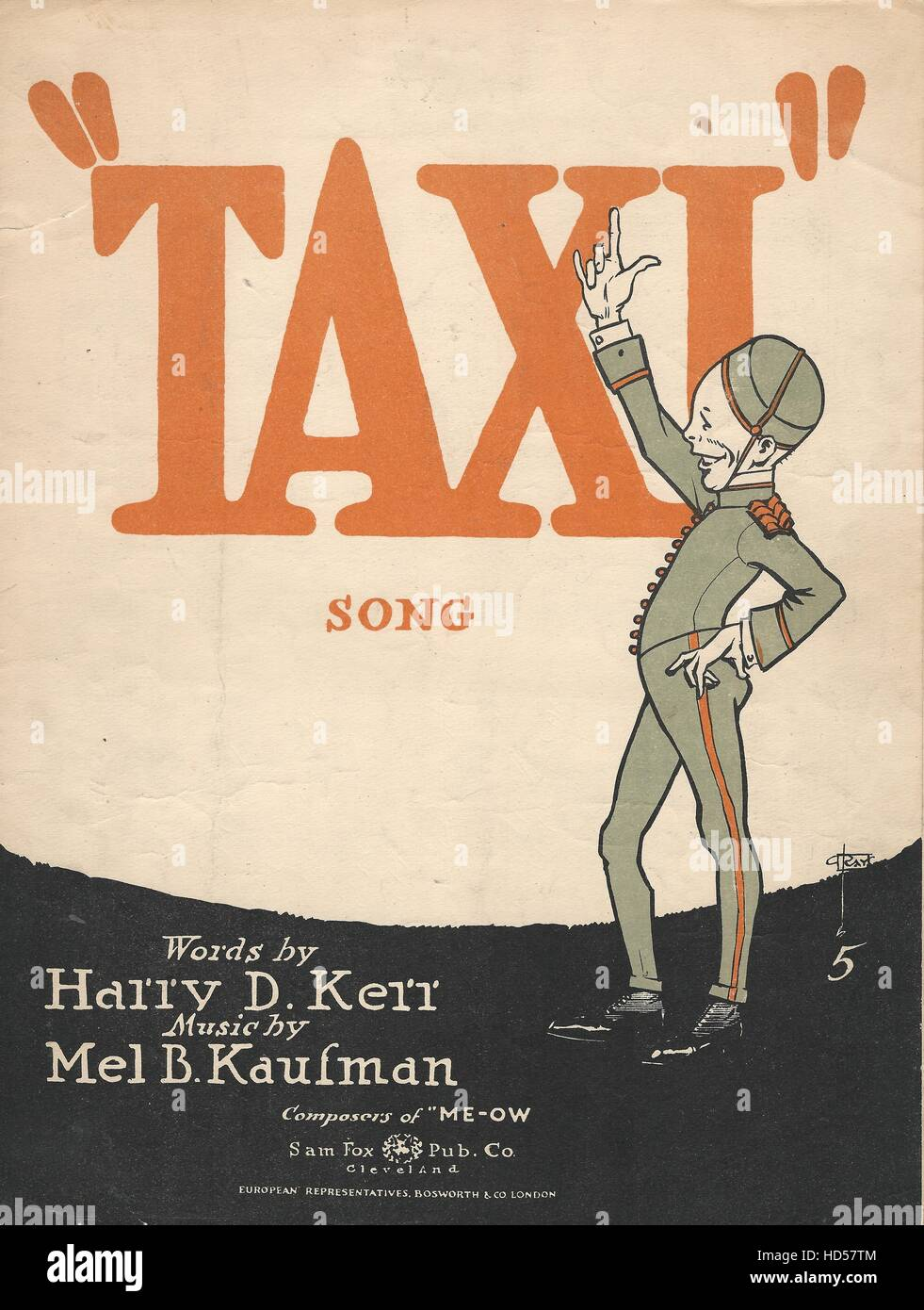'Taxi' 1919 Bellhop or Bellboy Sheet Music Cover. - Stock Image