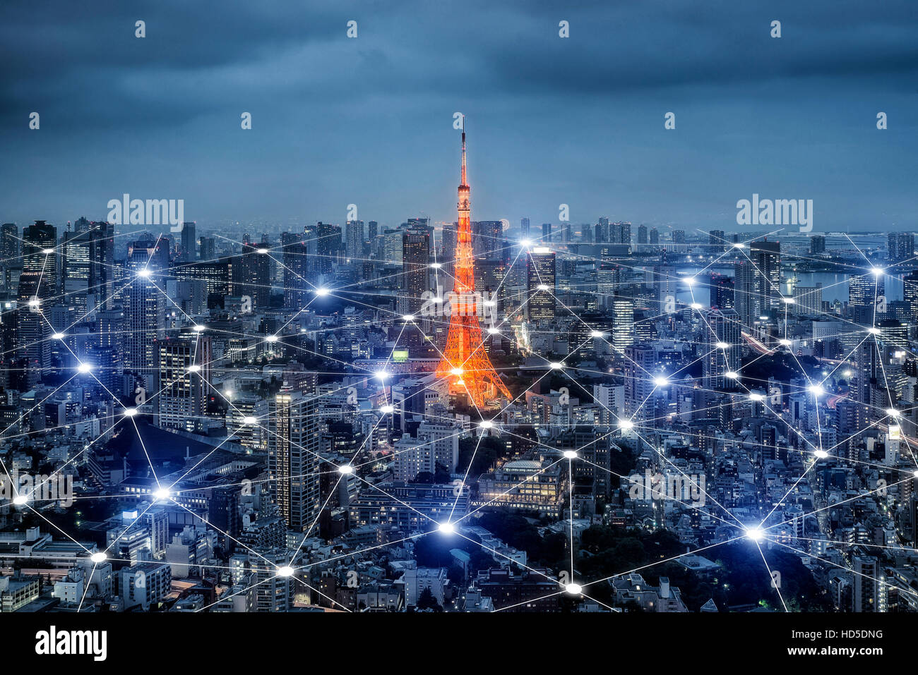 Smart city scape and network connection concept, wireless signal of Internet in business city. Internet connection.social - Stock Image
