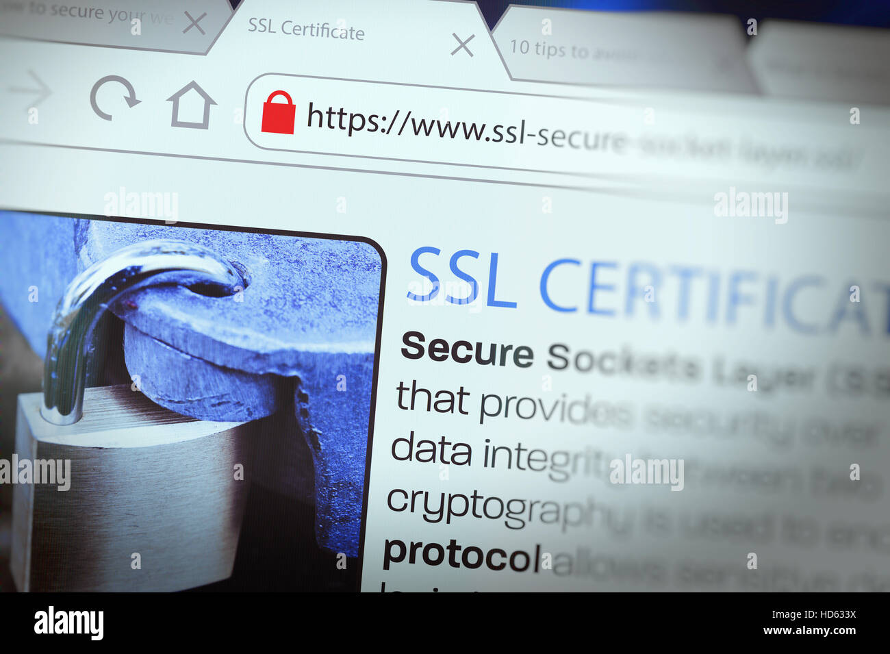 Close-up of a browser window showing lock icon during SSL connection - Stock Image