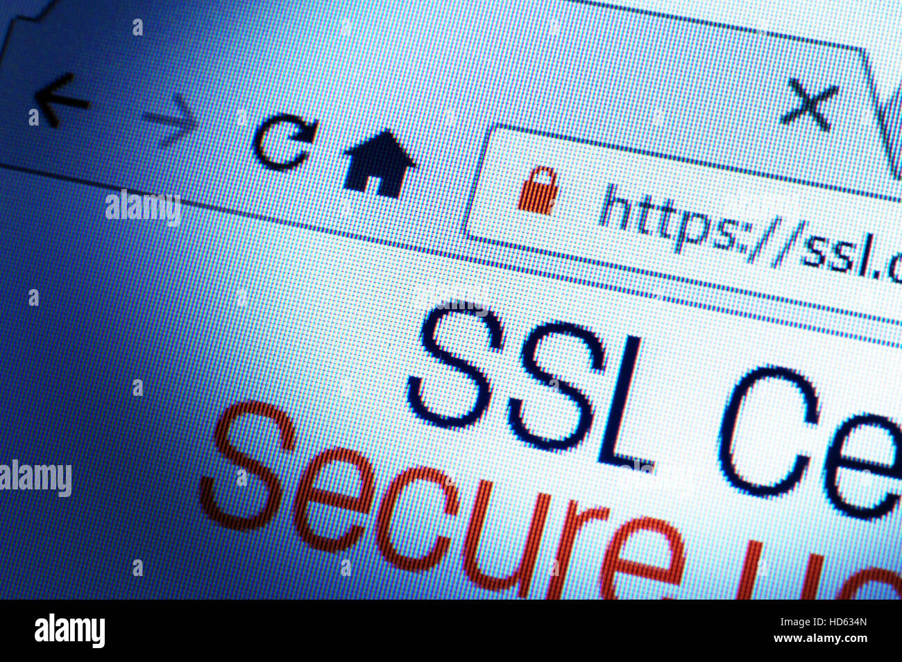 Https url address and lock symbol during SSL connection - Stock Image