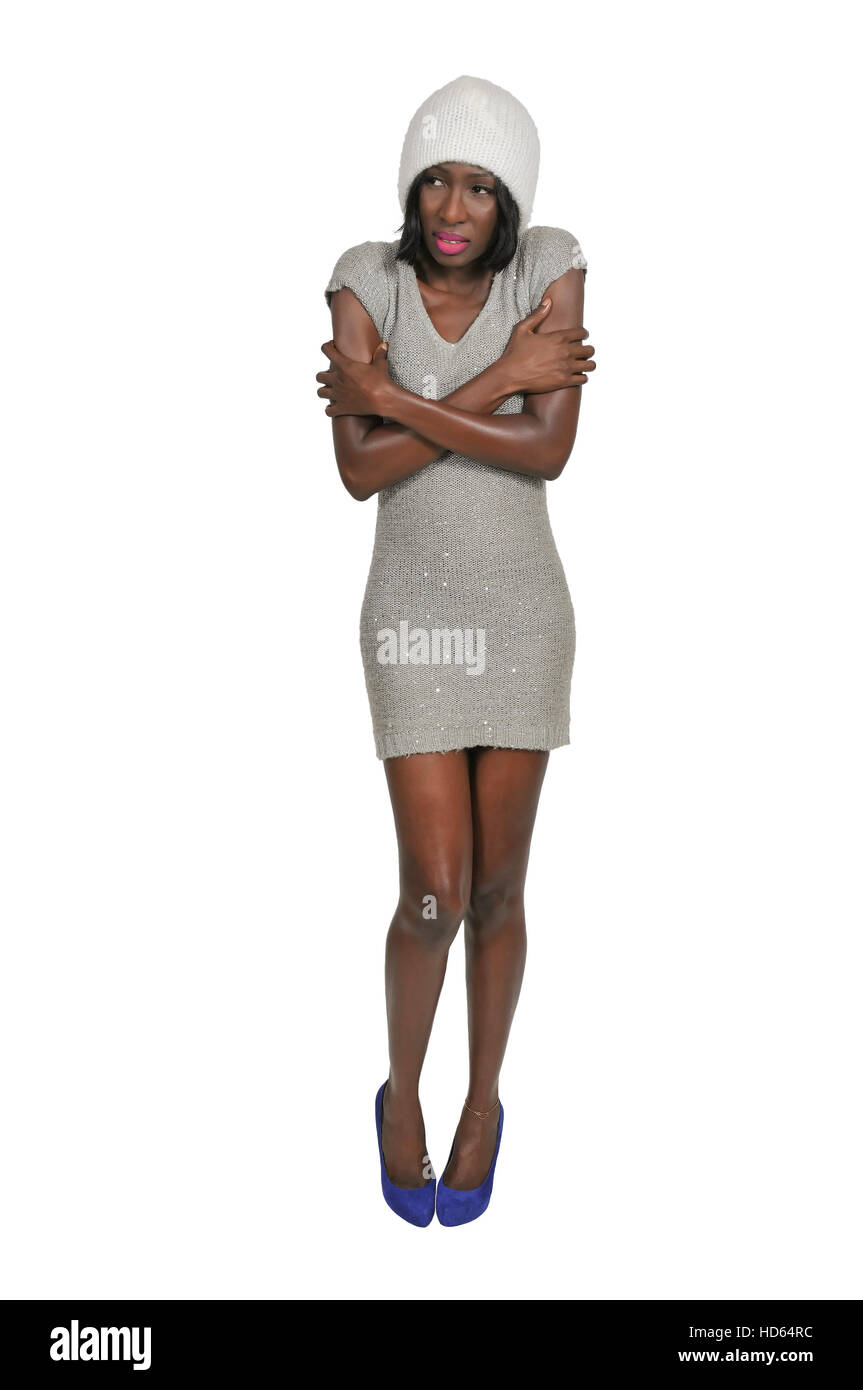 shivering african american black woman in a short dress trying to