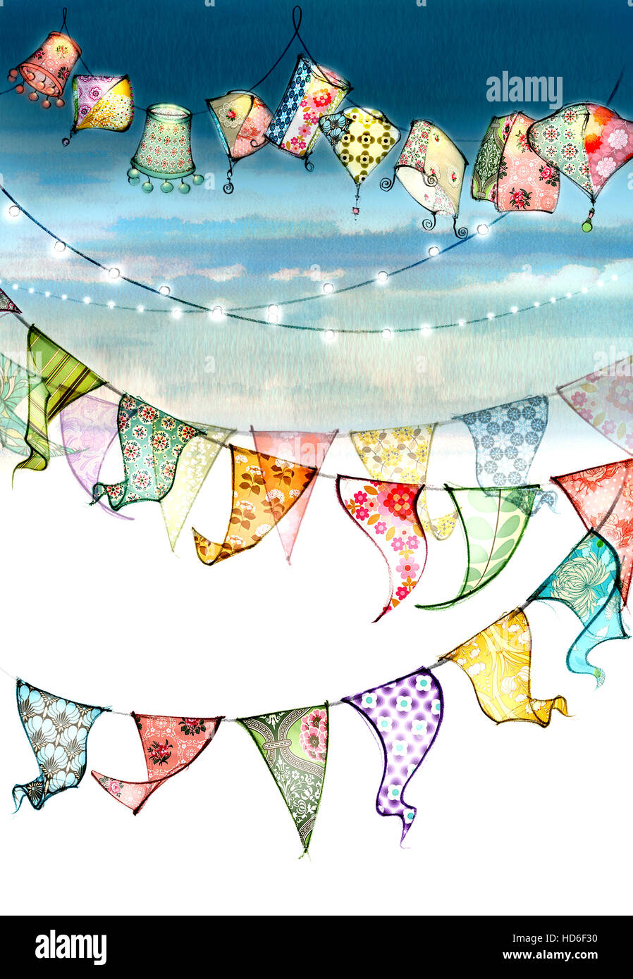 Multi colored bunting - Stock Image