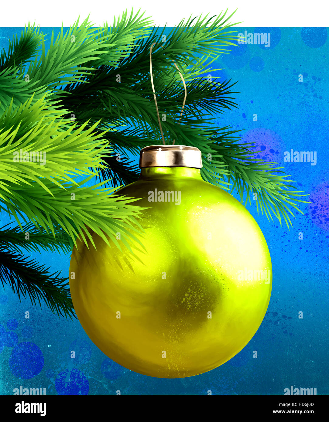 Gold bauble hanging from twig - Stock Image