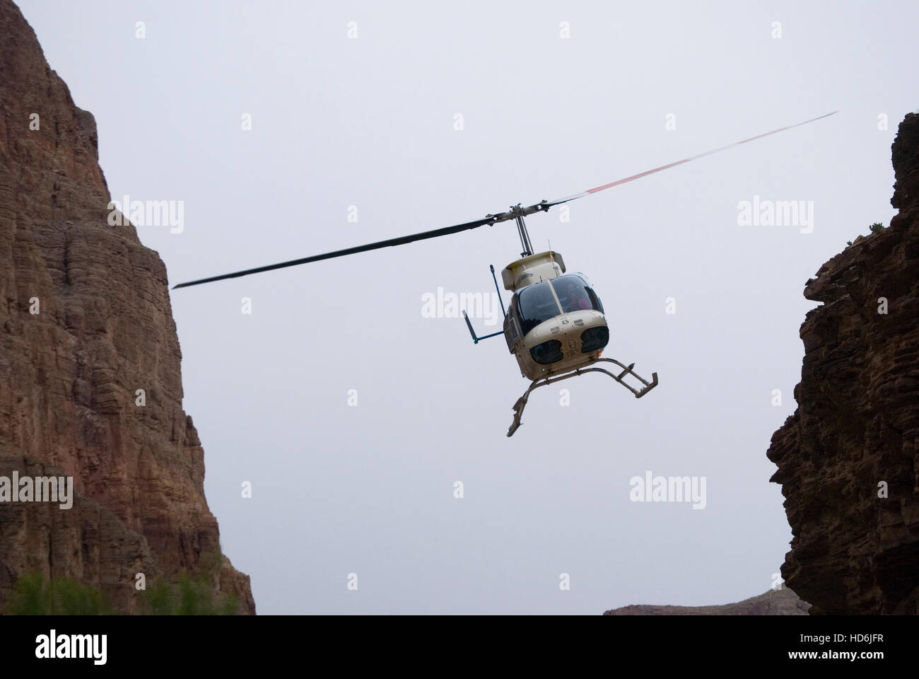 Flying out of Whitmore Wash by helicopter, Grand Canyon National Park, Arizona. - Stock Image