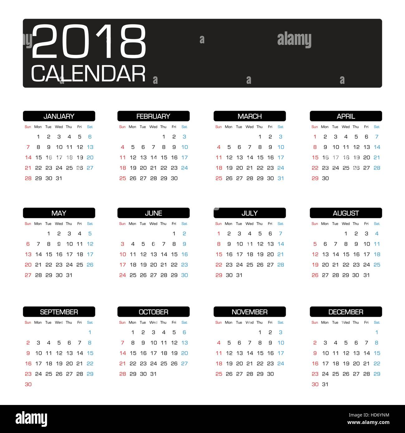 2018 year calendar template stock vector