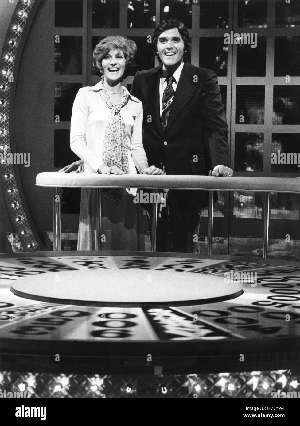Wheel Of Fortune From Left Co Host Susan Stafford Host Chuck Stock Photo Alamy