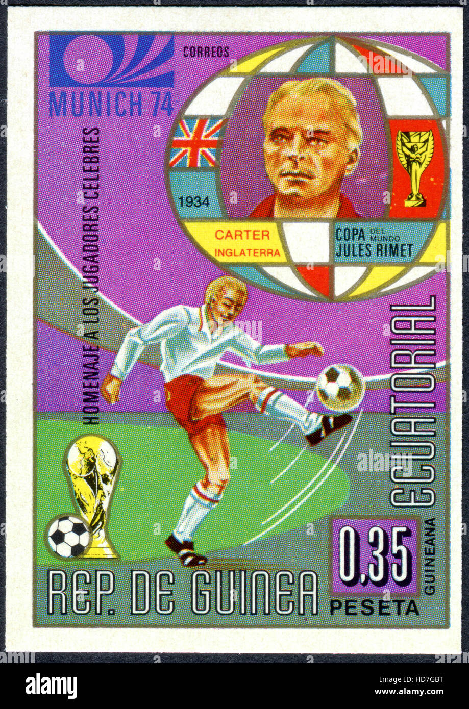 A stamp printed in Equatorial Guinea, dedicated to World Cup 1974 Football, Germany, shows the footballer George - Stock Image