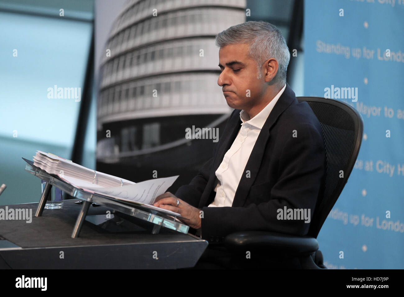 Mayor of London Sadiq Khan attends his first Mayor's Question Time in City Hall after a summer break.  Featuring: - Stock Image