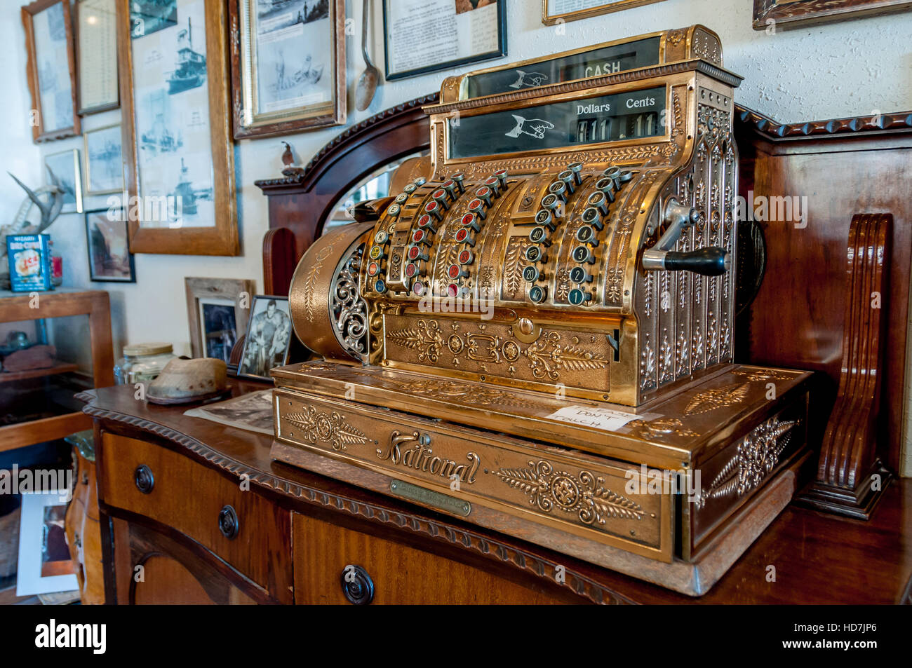 Antique Cash Register In Gold With National Brand Across Cash Drawer