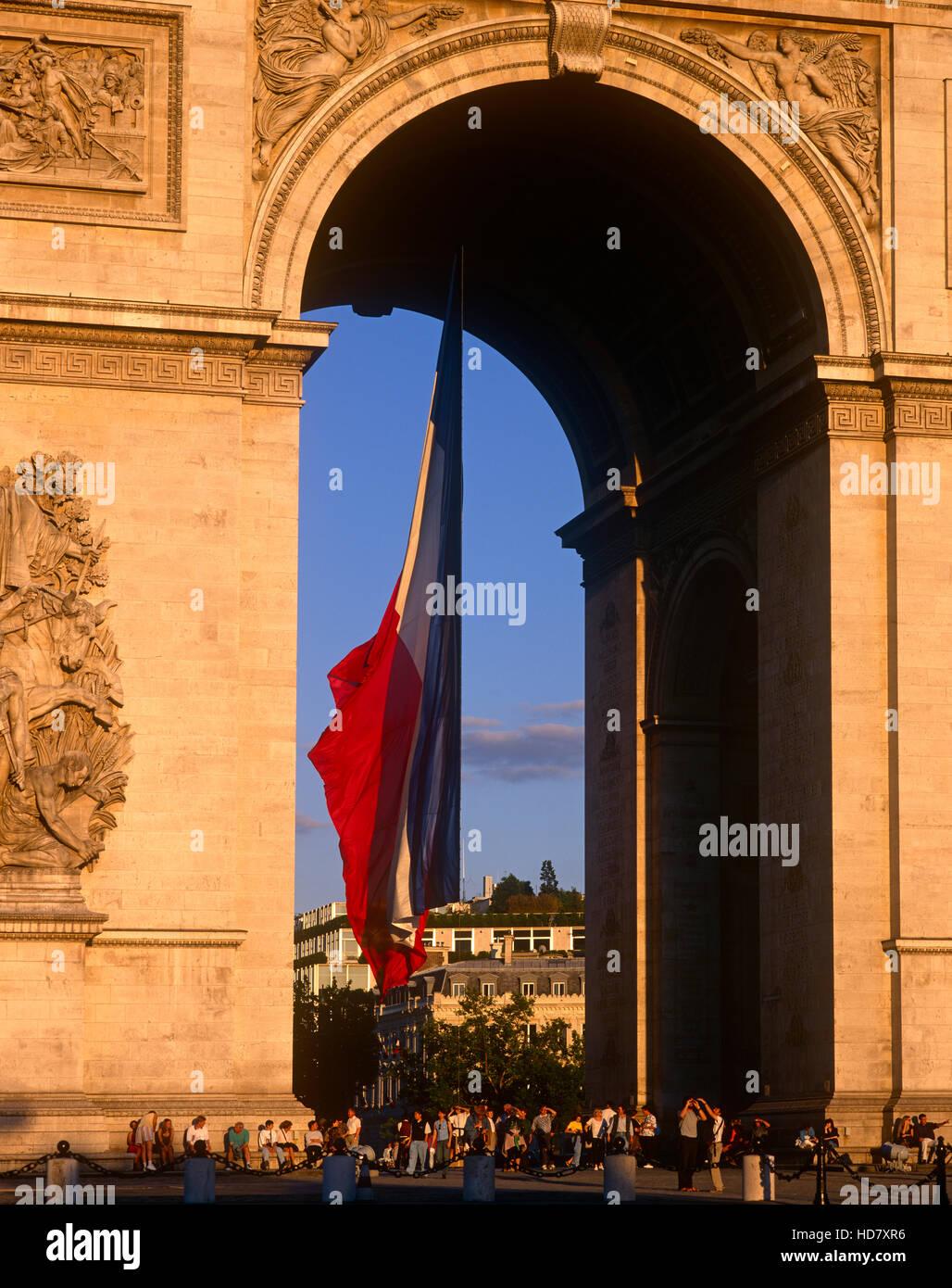 Arc de Triomphe, Champs Elysees, Paris, France - Stock Image