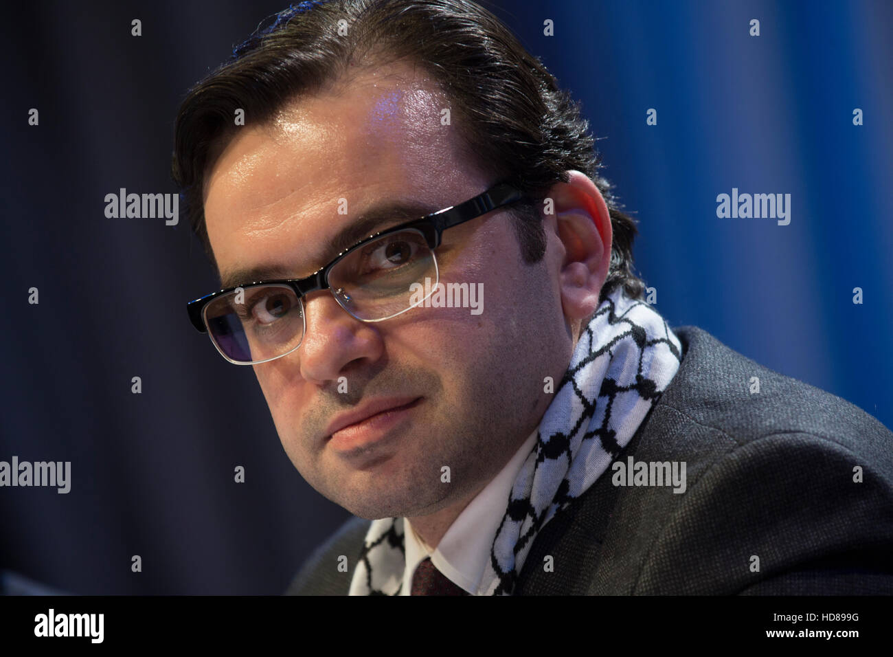 Palestine Minister of Culture Affairs, Dr. Ihab Bseiso during opening Palestine Culture days in Moscow - Stock Image