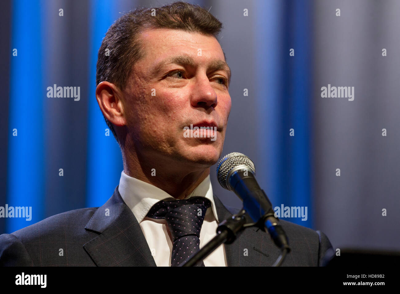Russian Minister of Labor and Social Security Maxim Topilin at the press conference in Moscow, Russia - Stock Image