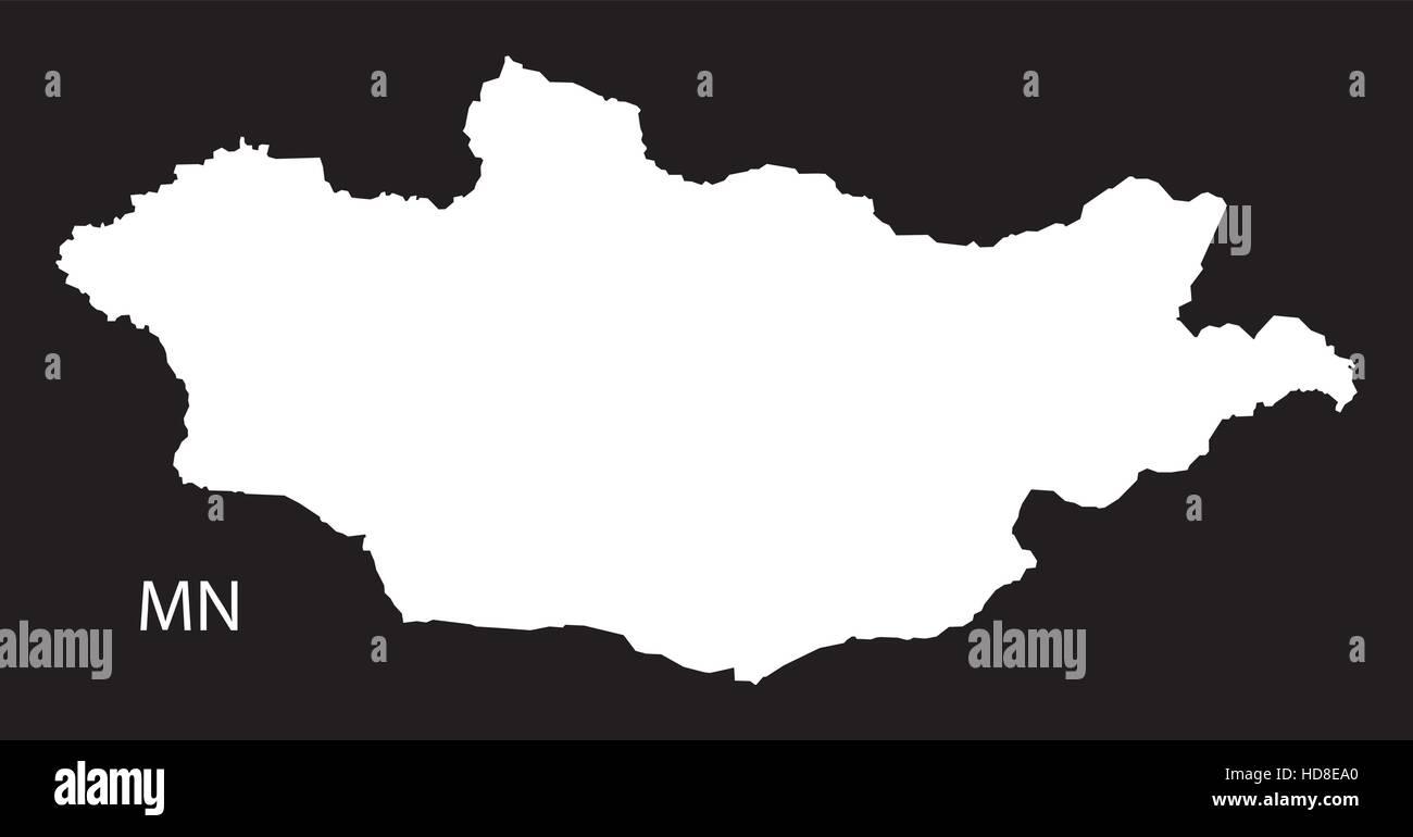 Mongolia Map black and white illustration - Stock Vector