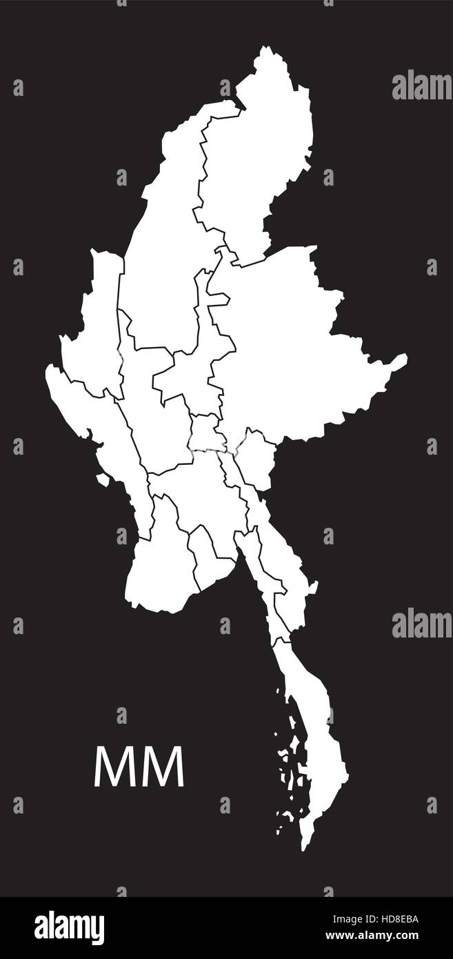 Myanmar with states Map black and white illustration - Stock Vector