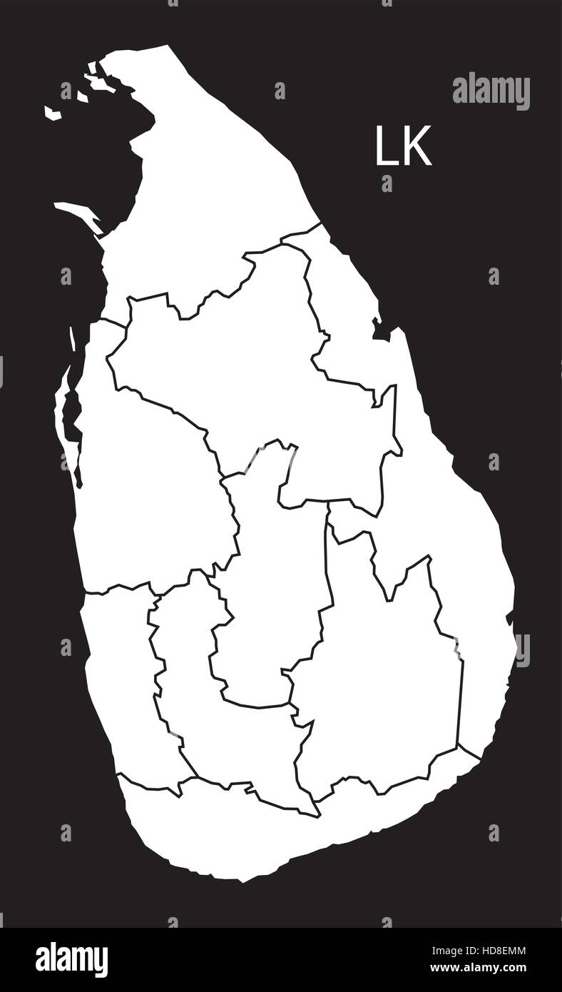 sri lanka provinces map black and white illustration