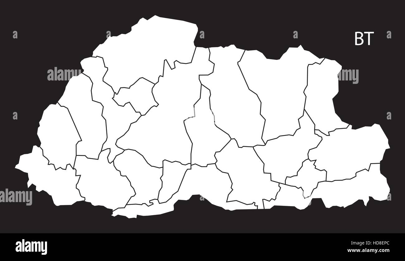 Bhutan districts Map black and white illustration - Stock Vector
