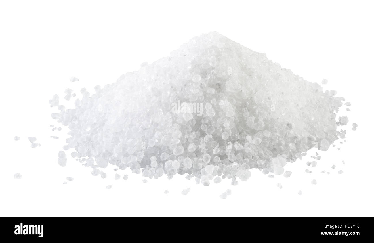 Pile of white rock salt on the white background. Stock Photo