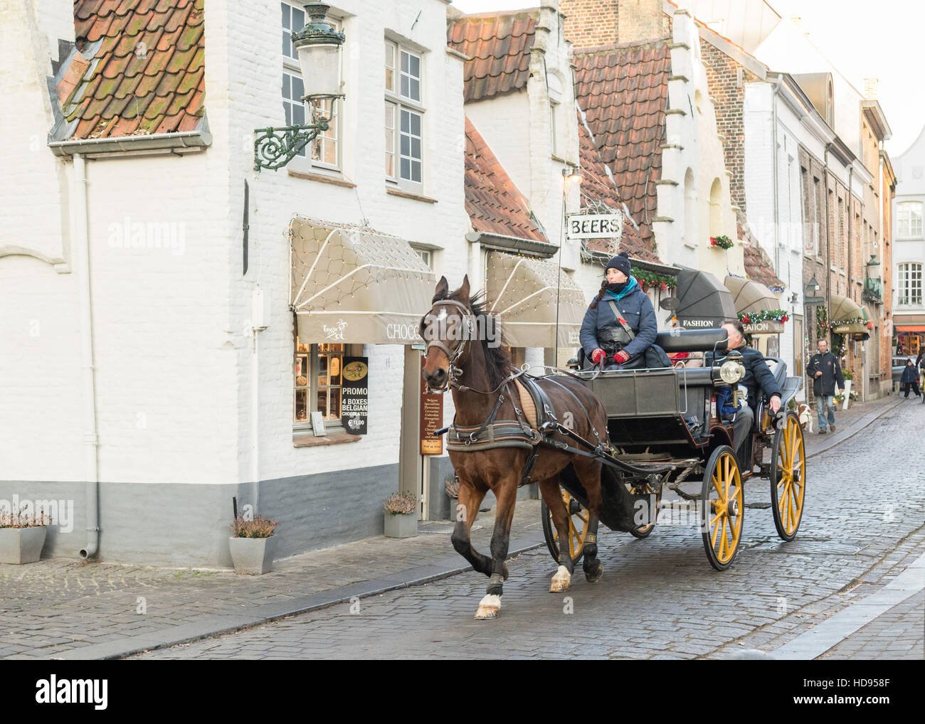 Bruges Belgium tourism - horse and carriage - Stock Image